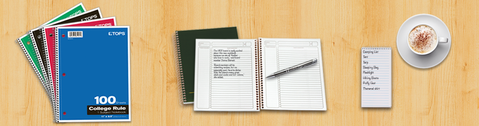 Notebooks, paper and writing pads